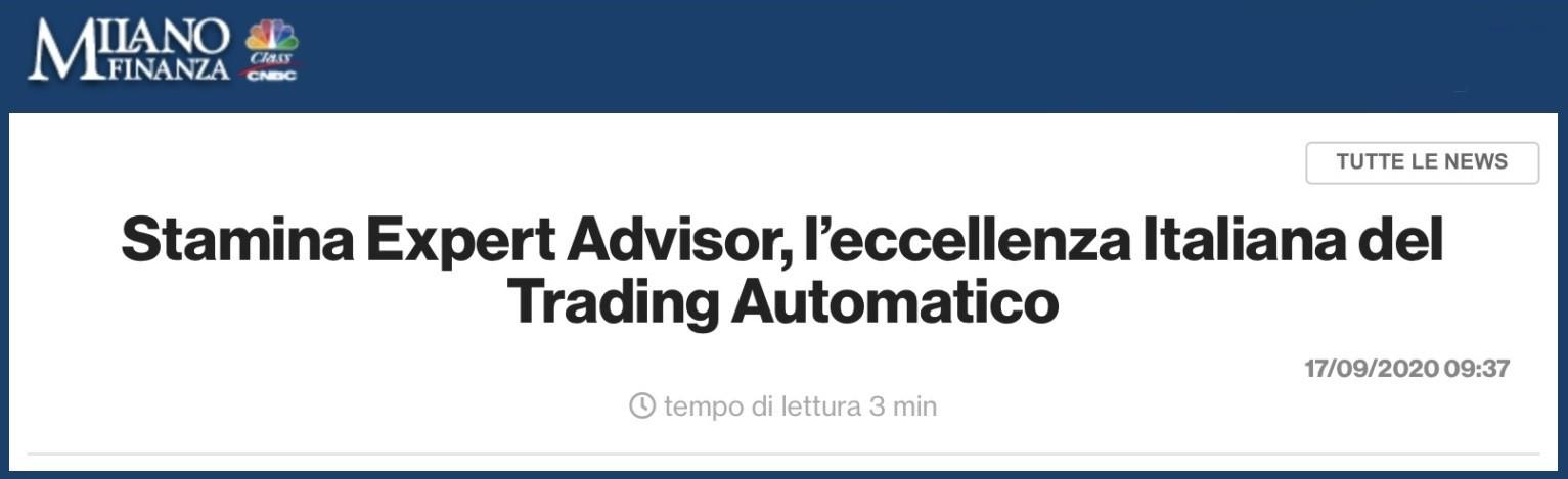 Stamina Expert Advisor, l'eccellenza Italiana del Trading Automatico - Recensione Milano Finanza
